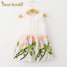 Bear Leader Girls Dress 2017 New Princess Dress Flowers Bow Good Quality With Low Price For 3-6 Years Girls Clothing