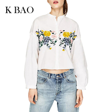 2017 Women Fashion Floral Embroidery Blouse Shirt Female Puff Sleeve White Blouse Stand Collar Blusas Spring Summer Girls Shirt