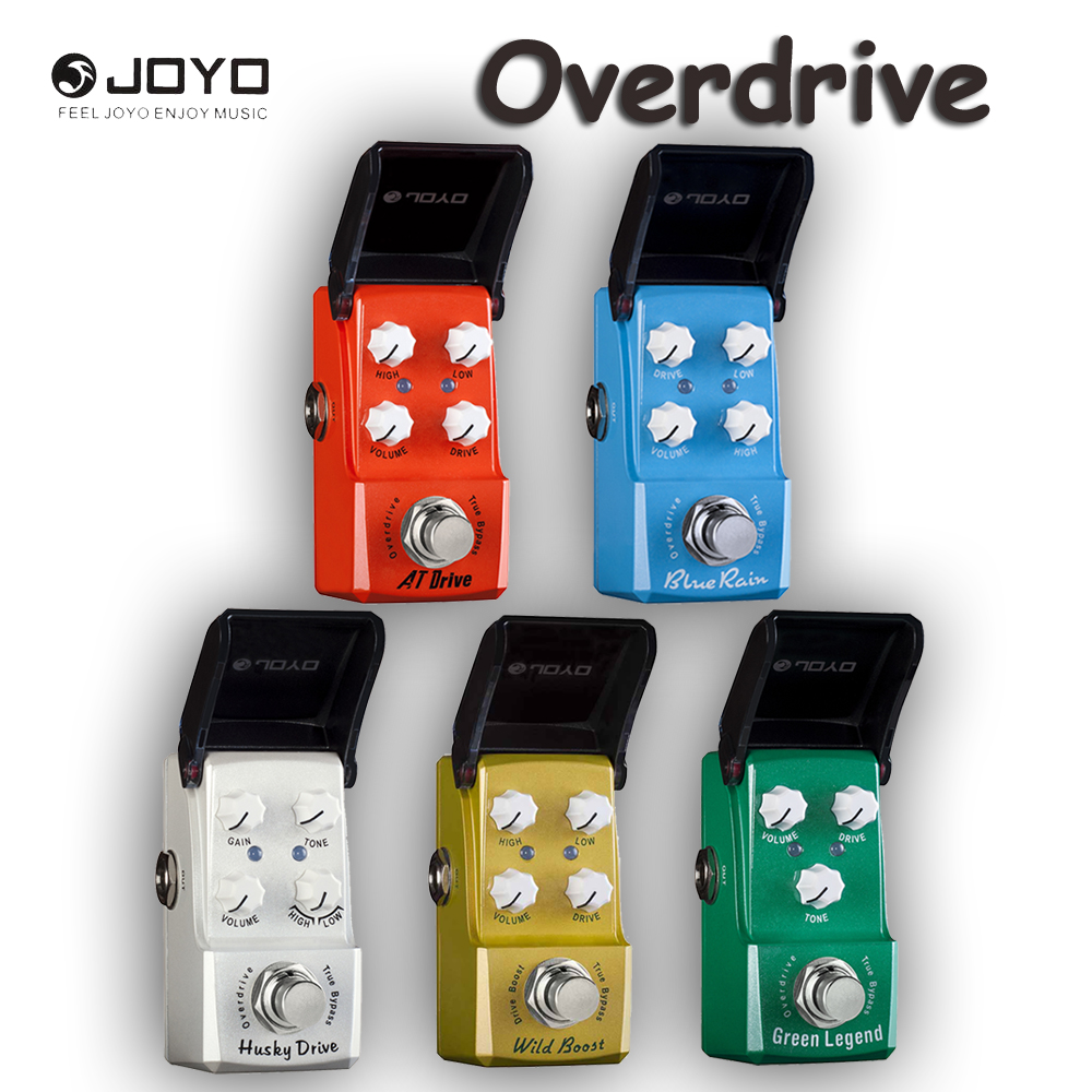 JOYO Ironman Series Overdrive Guitar Effects Pedal, Wild Boost/AT Drive/Blue Rain/Husky Drive/Green Legend and Power Supply<br>