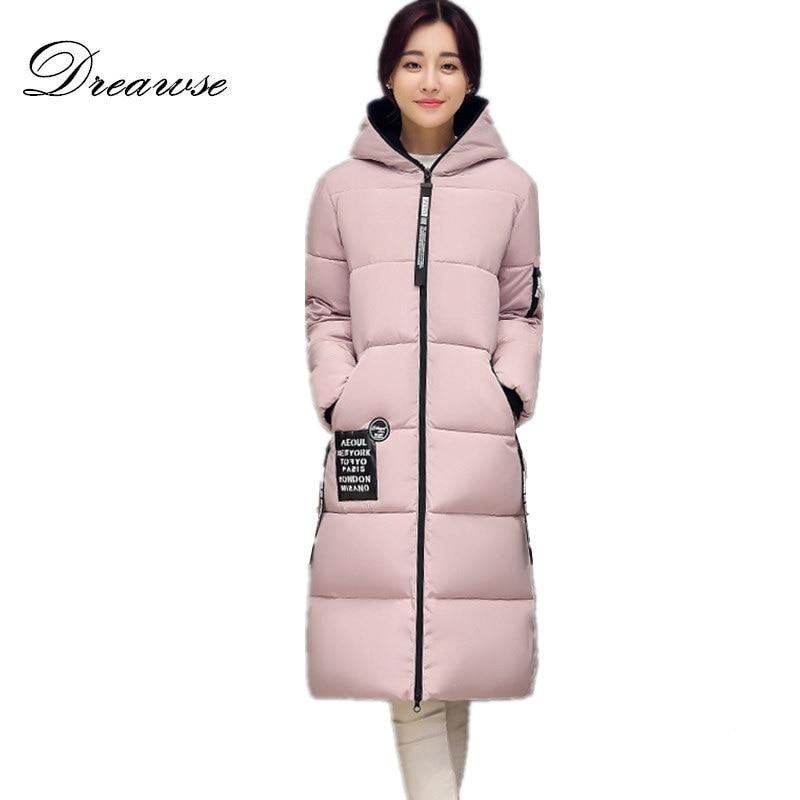 Dreawse Women Knee Length Winter Loose Padded Cotton Hairball Plus Size Thick Warm Jacket Female Tide Hooded Parkas Mujer MZ1835Îäåæäà è àêñåññóàðû<br><br>