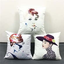 Audrey Hepburn Cushion Cover 3 Style Classic Beauty Pillow Cases Sofa Decorative Pillow Cases Baby Bedroom Decoration(China)