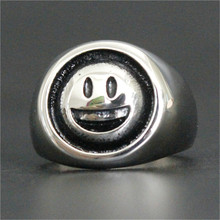Support Dropship Size7-13 Polishing Smiling Face Ring 316L Stainless Steel Jewelry Men Boys Smile Ring(China)