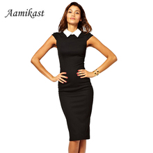 Buy Aamikast Women Summer White Collar Dress 2017 Patchwork Pencil Ladies Work Sexy Dresses Black Bandage Sheath Vestidos for $16.00 in AliExpress store