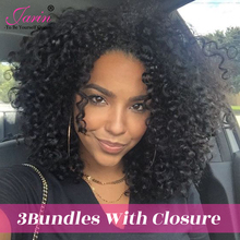 JARIN Mongolian Kinky Curly Human Hair Closure With 3 Bundles Brazilian Hair 4 Pieces Free Middle Part 4*4 Lace Closure Non-Remy(China)