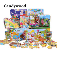 New 60Pcs Cartoon Animal Puzzle Iron Box Kids Wooden Toys jigsaw Puzzles Children Early Education Toy juguetes educativos