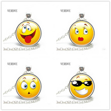 VERDVE 2018 New Collares Collier Smile Crystal Glass Necklace Charm Modern Design Fancy Jewelry Handmade Gifts(China)