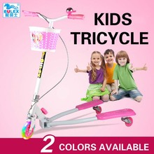 BULEX Fold scissors three wheels hand brake children tricycle aluminum alloy frame kids scooter