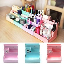 Random Color!!! 2016 Hot Sale DIY Paper Board Makeup Cosmetic Storage Box Container Desk Decor Stationery Case Organizer Top(China)