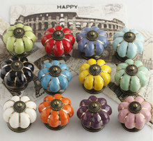 10pcs/lot New Color Red Ceramic Gold Zinc Alloy Base Door Cabinets Cupboard 40mm Pumpkins Knobs Handles Pull Drawer