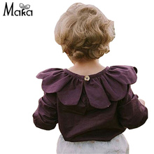 MAKA KIDS Girls Blouse Baby Girl Shirt Autumn Clothes Infant Tops Clothing Toddler Girl Tees Purple shirts Ruffled Collar 1-5Y