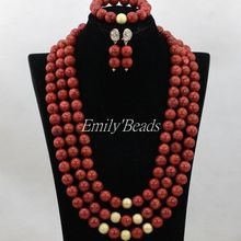 2016 Pretty African Wedding Sponge Coral Beads Necklace Set Red Nigerian Beaded Bridal Jewelry Set Free Shipping CJ668