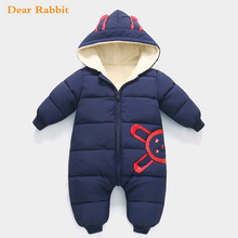-30 degrees 2018 New born Baby Wear Winter Jumpsuit Snowsuit Boy Warm Romper Down Cotton Girl clothes infant overcoat clothing(China)
