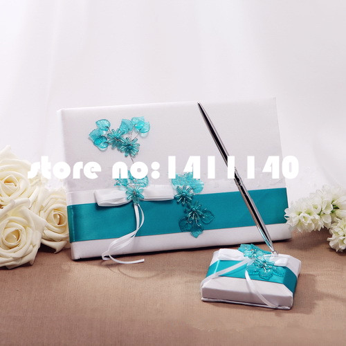 Teal Scroll Wedding Guest Book And Pen Set In White Satin Blue Flower Decor Accessory