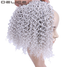 DELICE 16-20inch 3pcs/pack Women's Kinky Curly Hair Weaving Slivery Gray Synthetic Hair Weave Extensions Weft Bundles(China)