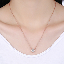 Buy Jvrbvor Round Cubic Zirconia Rose Gold Color Pendant Necklaces Women Girls Trendy Link Chain Jewelry Female GI16A for $2.49 in AliExpress store