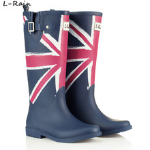Brand New Fashion Rubber Rain Boots Women Knee High Flag Rainboots Water Shoes Buckle Wellies Boots  TS6