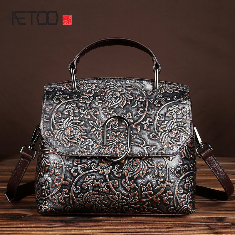 AETOO   Original personality manual brush color retro genuine leather handbag leather 100% nature leather messenger bag women<br>