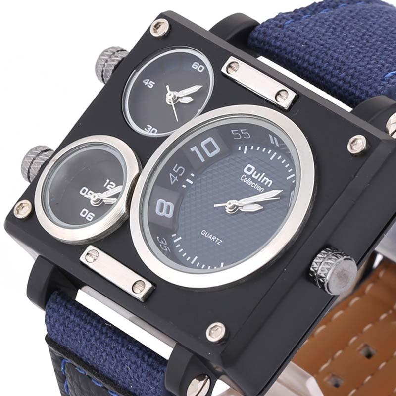 Luxury Brand Rectangle Men Quartz Dress Watch Oulm 3595 Three Time Zone Canvas Strap 3 Colors Choose<br><br>Aliexpress