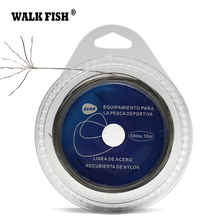 WALK FISH 1PCS Fishing Steel Wire Fishing Lines 10m Max Power 7 Strands Super Soft Wire Lines Cover with Plastic Waterproof(China)
