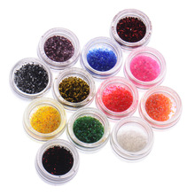 Hot Sale Metal Shiny Glitter UV Powder Nail Art Kit Acrylic Dust Set 12 colors/set Nail Art Decorations