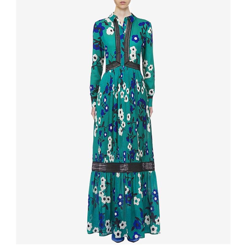 spring girl beach floral dresses black crochet lace patchwork turn-down collar high waist long sleeve pleated womens maxi dress