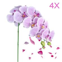 4x Artificial Butterfly Orchid Flower Bouquet Phalaenops Decor Light Purple(China)