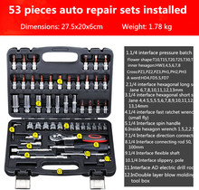 53 pieces car repair ratchet fast batch length, sleeve, hardware tools portfolio