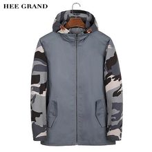 HEE GRAND Men Stylish Jacket 2017 Hot Sale Camouflage Sleeve Spliced Design Casual Autumn Thin Outwear Plus Size M-3XL MWJ2418