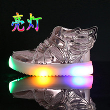 Fashion 3 Colors Children Shoes New Girls' wings shoes boots for high luminous surface leisure sports shoes(China)