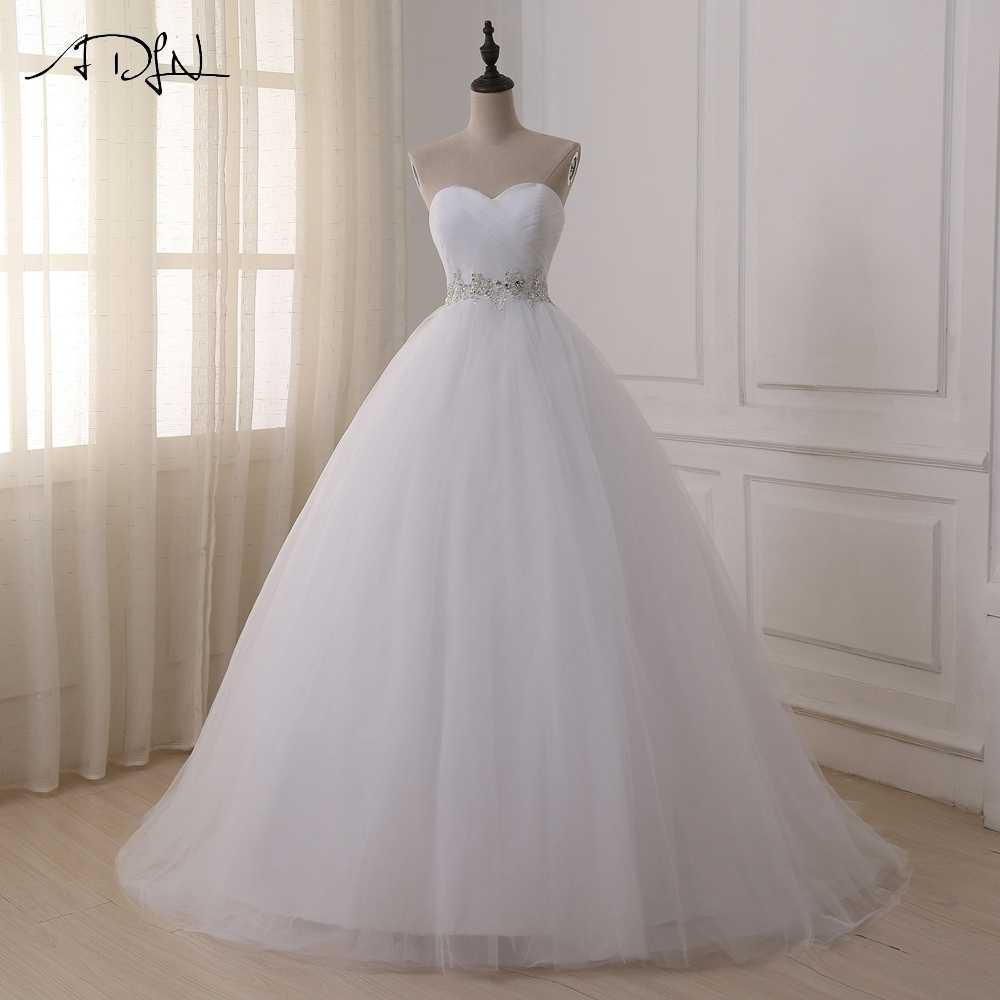 ADLN Stock Wedding Dresses Vestidos de novia Sweetheart Sweep Train Lace  Applique Corset Wedding Dress Gowns 99372a1ea3ee