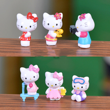 Mini Pink Kawaii Hello Kitty Cats Landscape Garden Miniatures Decoration Figures Anime Model Terrariums Toys Dollhouse Material