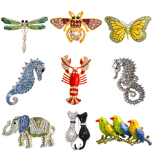 Retro Insect Dragonfly Butterfly Broach Bee Brooch Women Crystal Animal Elephant Cat Birds Sea Horse Broches Mujer Men Brosche(China)