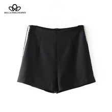 Bella Philosophy 2017 spring women high waist casual shorts solid black pearls fashion shorts zipper fly straight women shorts(China)