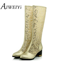 AIWEIYi Black Gold Sexy Lace Cutouts Knee High Boots 2017 Brand Wedges High Heels Boots Spring Summer Boots Women Shoes Woman