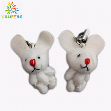 100pcs/lot, 3.8cm joint rabbit with red nose doll mini plush rabbit cute mobile phone accessories, Easter rabbit gifts baby toys
