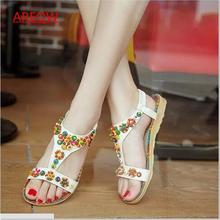 AREQW2017 summer new Bohemian beaded sandals female sweet ethnic fish head flat female sandals