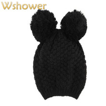 Which in shower Lady Black Crochet Beanie Skullies Thick Cat Ear Cartoon Cute Knitted Winter Hat Warm Cap Women Hat For Girl