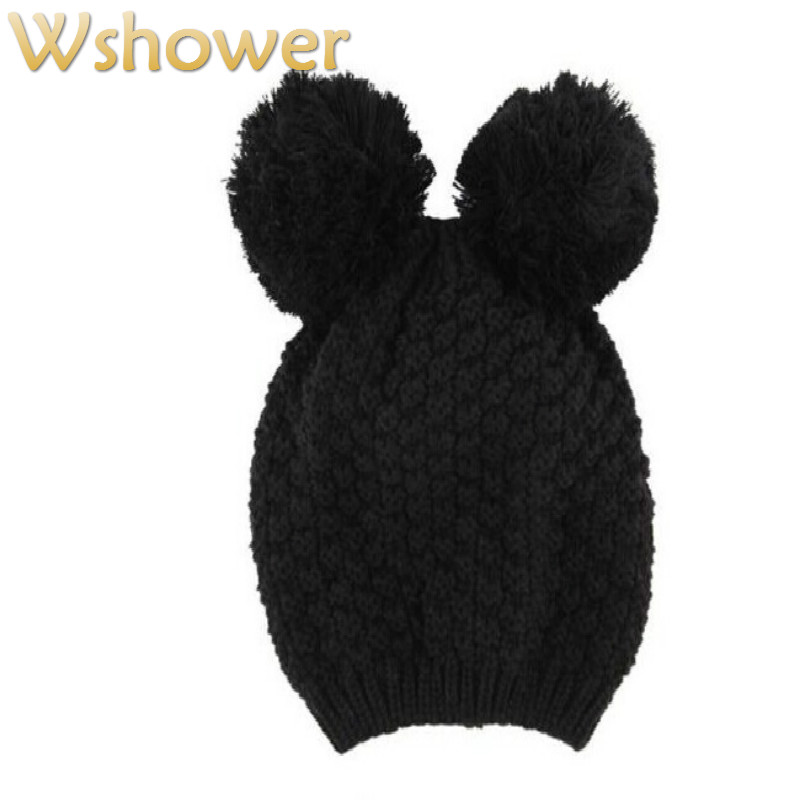 Which in shower Lady Black Crochet Beanie Skullies Thick Cat Ear Cartoon Cute Knitted Winter Hat Warm Cap Women Hat For Girl(China (Mainland))
