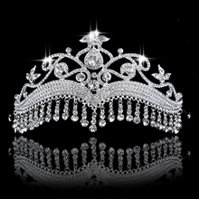 Hot European Head Jewelry Silver Color Vintage Rhinestone Bridal Tiara Hair Accessories Crystal Pageant Wedding Crown For Women