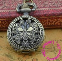 Coupon for wholesale buyer price good quality new bronze vintage retro nice beautiful mini butterfly pocket watch necklace hour(China)