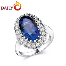 Engagement Rings for Woman Kate Middleton Inspired Oval Sapphire Blue CZ Rhodium Plated Cluster Ring DAILY 2015 New DAR-0054(China)
