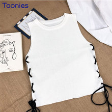 Sleeveless Knitted Women Vest O-neck Slim Solid Sides Drawstring Tanks New 2018 Summer Design Sexy Crop Tops All-match Short Top(China)