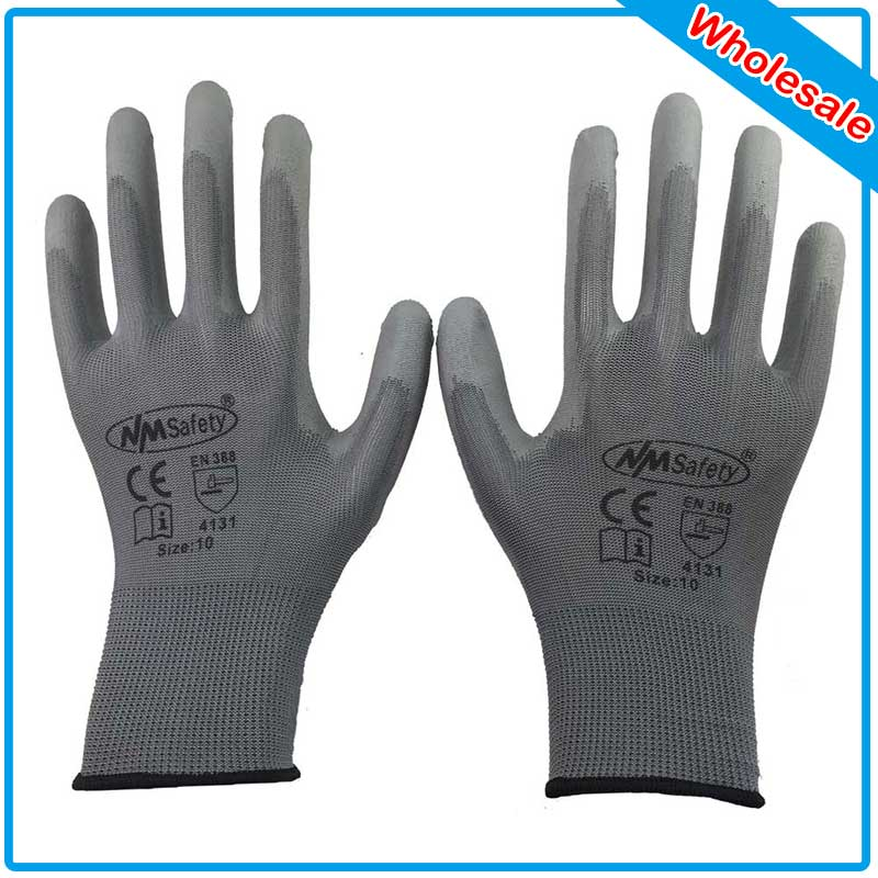 NMSAFETY 240 pairs Lightness comfortable grey polyester work gloves cheap PU working safety gloves<br><br>Aliexpress