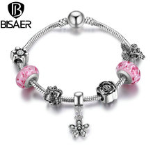 BISAER Silver Color Dazzling Daisy Pendant & High Quality Pink Glass Beads Charm Bracelets & Bangles DIY Jewelry HJ1910(China)