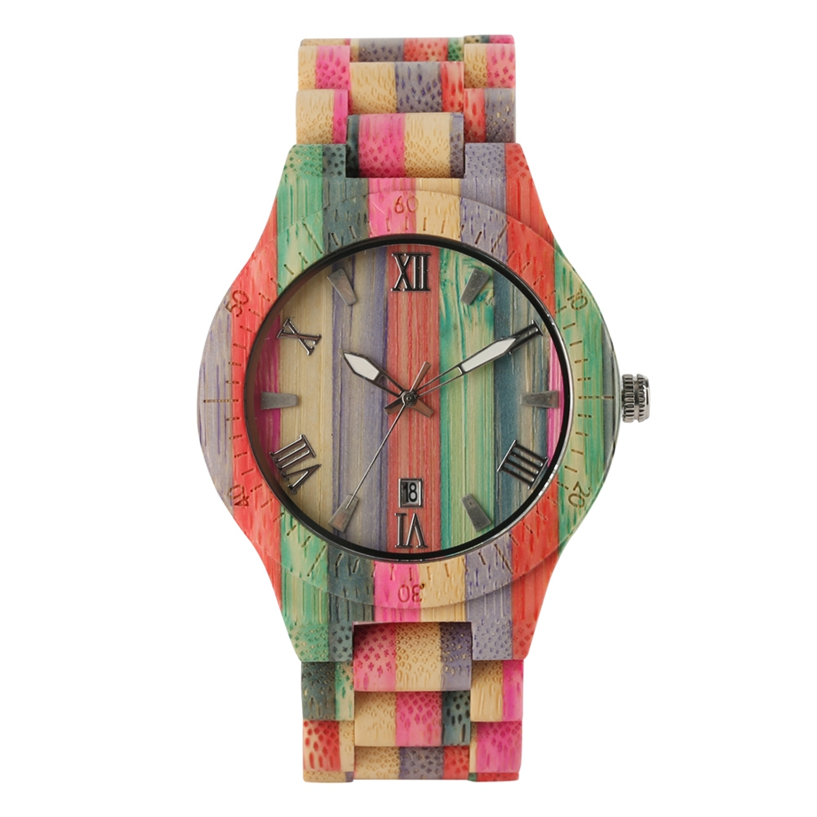 Wood Watches Full-Bamboo Quartz Handmade Multiful-Color Reloj Casual Gifts Men Hombre title=