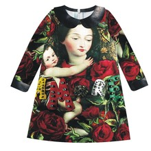 girl Dress Brand Fashion Red roses Children Clothing Girl  kids Green leaves nice dress  Cute Party Dress Girls baby dress