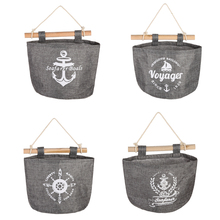 Navy Wall Hanging Storage Bag Vintage Cotton Jute Sundries Organizer Closet Bag Home Kitchen Bedroom Bathroom Organization