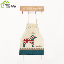 You And Me 40x50cm Children Kitchen Aprons London Horse Pattern Linen Chef Kids Housework Apron Home Textile