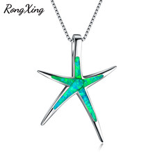 RongXing 925 Sterling Silver Filled Green Fire Opal Starfish Pendants Necklaces for Women Wedding Jewelry Birthday Gifts NL0081(China)