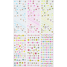 5X LARGE SHEET (6 DESIGNS IN 1)  3D SELF ADHESIVE NAIL STICKER FLOWER STAR WITH GOLD SILVER OUTLINE NAIL DECAL TA001-024